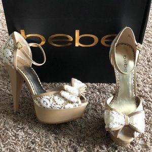 Shoes - Lace/nude bebe heels